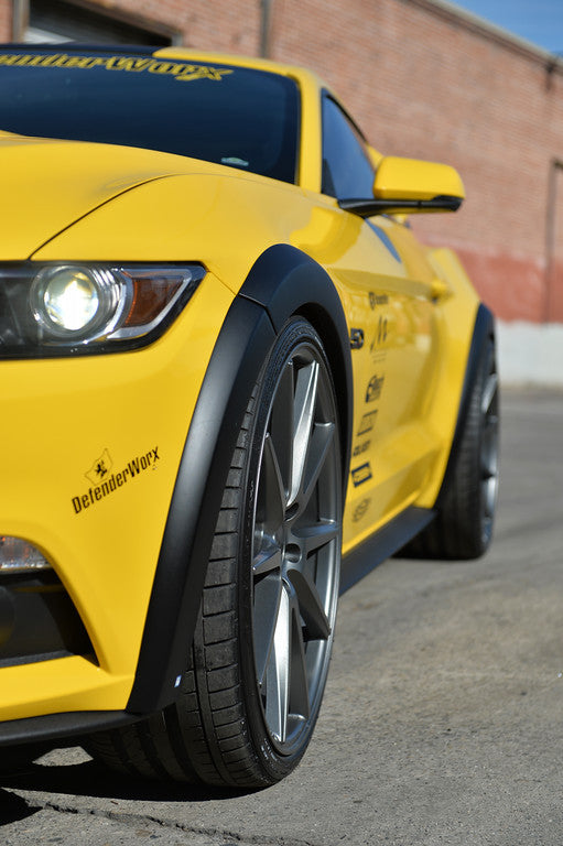 "2015 + Defenderworx Ford Mustang Street Flares  Front 1/2"" wide, Rear 1"" wide- Urethane Paintable finish - Southwest Speed LLC"
