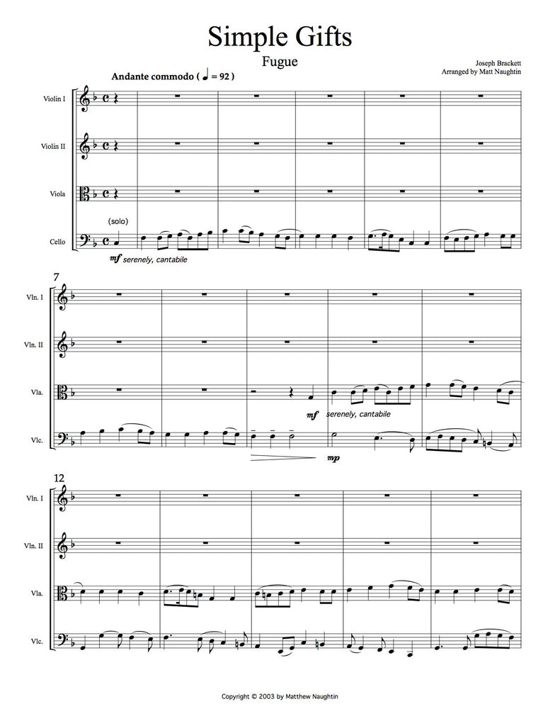 """Simple Gifts"" Fugue (Brackett/Naughtin)"