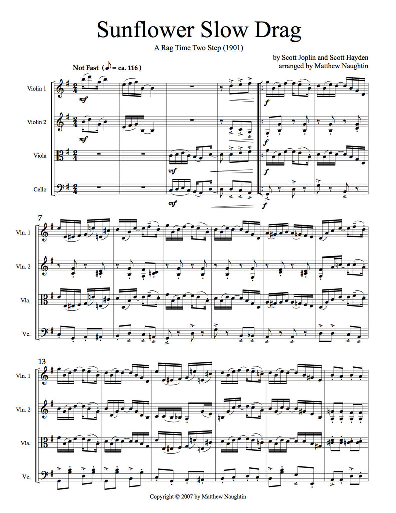 """Sunflower Slow Drag,"" A Rag Time Two Step (Scott Joplin and Scott Hayden)"