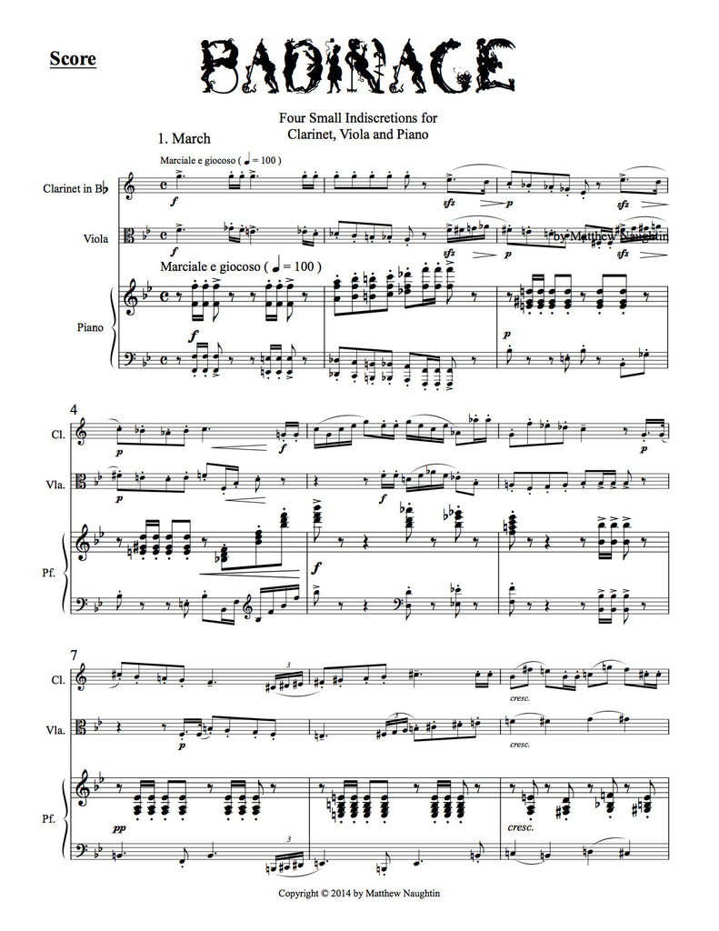 """Badinage"" Four Small Indiscretions for Clarinet, Viola and Piano (Matthew Naughtin)"