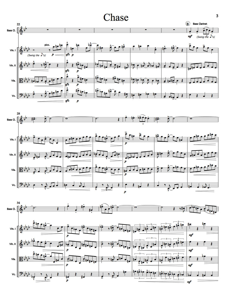 """Chase"" for Clarinet/Bass Clarinet and String Quartet (Matthew Naughtin)"