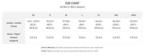 De Marchi sizing chart men's cycling garment