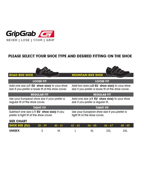GripGrab Bicycle Shoe Cover - size chart
