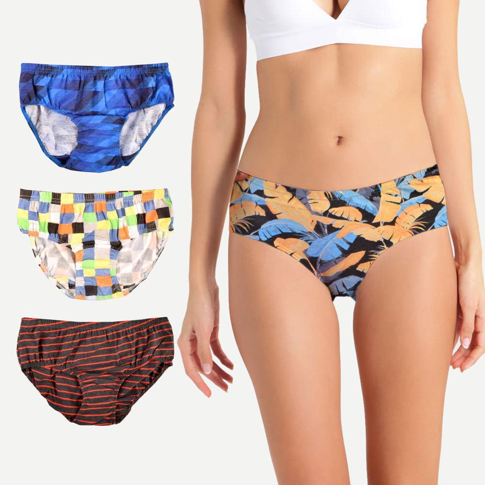 Ateas Women's Pack Of 3 Assorted Bikini Panty Women's lingerie Fiza S