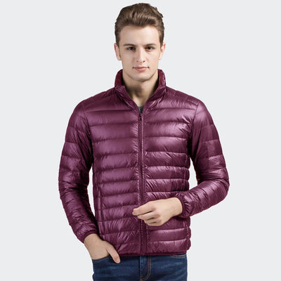 Davos Boston Ultra Light Down Jacket fits into a pouch Men's Jacket Sunshine China Burgundy L