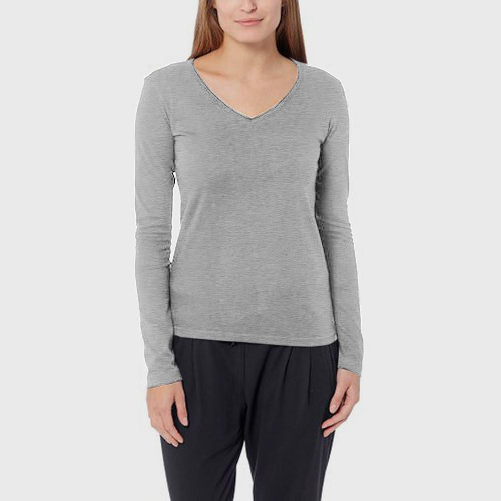 BYD V-Neck Long Sleeve Tee Shirt Women's Tee Shirt Image Grey L