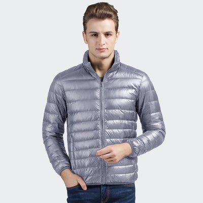 Davos Boston Ultra Light Down Jacket fits into a pouch Men's Jacket Sunshine China Grey L