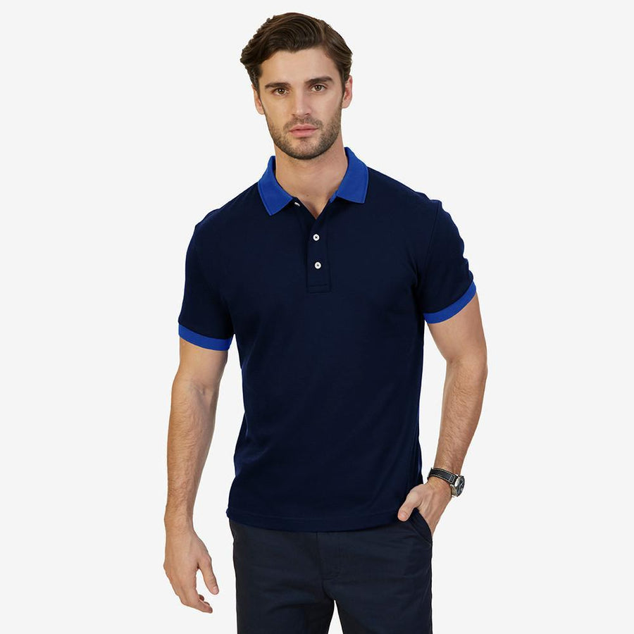 Contrast Collar Short Sleeve Polo Shirt Men