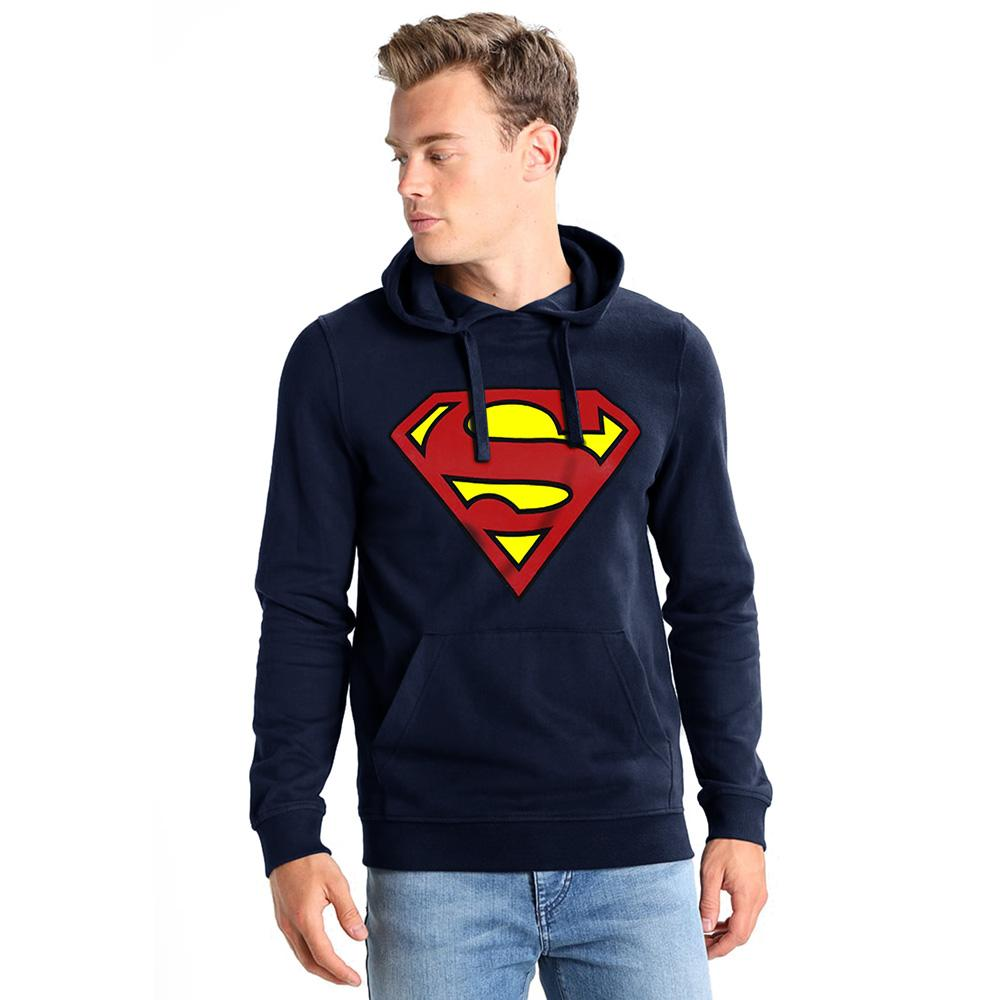 DC Superman Brushed Fleece Pull Over Hoodie Men's Pullover Hoodie Fiza Navy L
