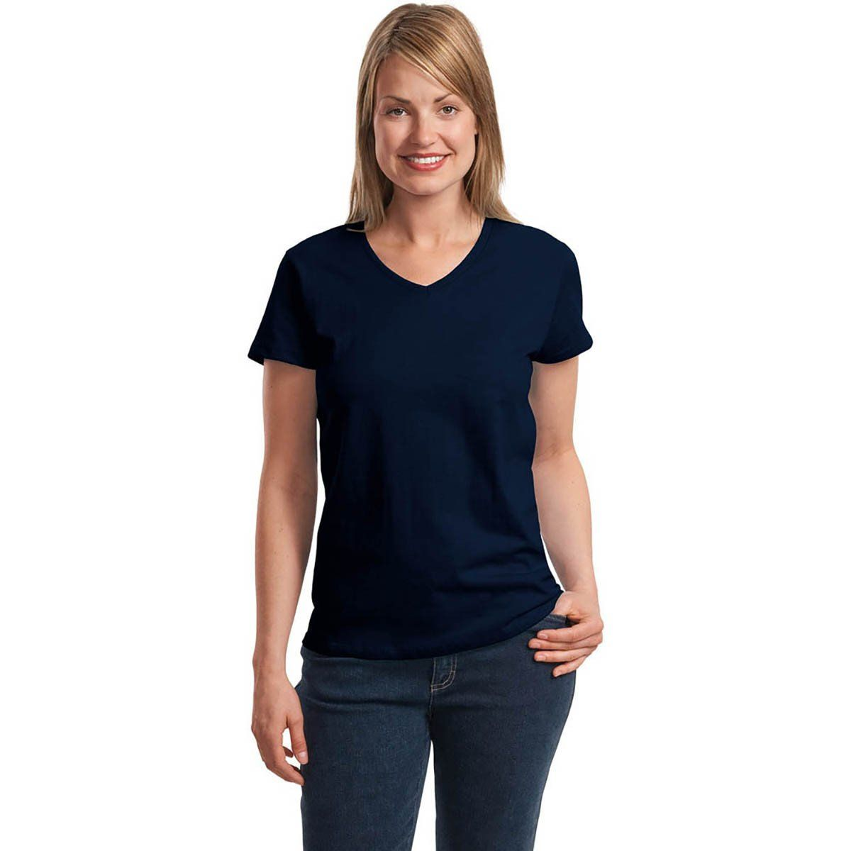 BYD Manty Short Sleeve V-Neck Tee Shirt Women's Tee Shirt Image Navy S