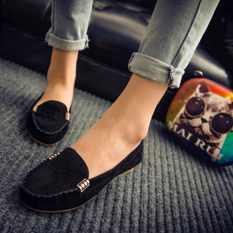 Round Head Flat Shallow Metal Buckle Loafer Shoes