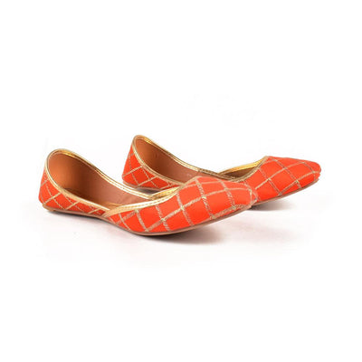 Embroidered Velvet Khussa Women's Shoes Hpral Orange EUR 37