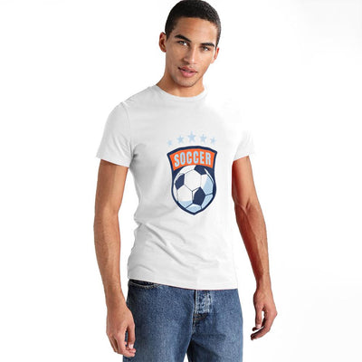 LE Soccer Craze Short Sleeve Crew Neck Tee Shirt Men's Tee Shirt Image White XS