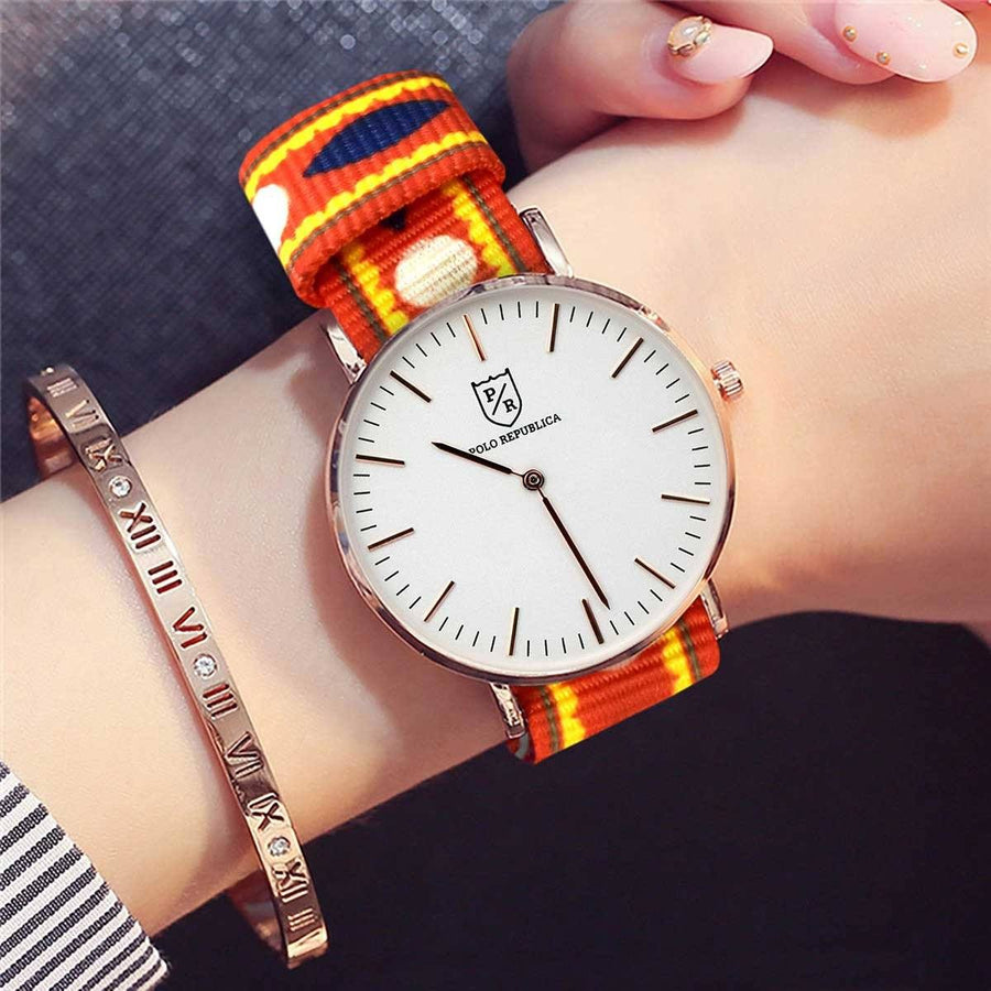 Polo Republica Truck Art Inspired Mela Nylon Strap Wrist Watch With Extra Durham Strap