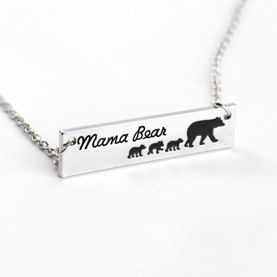 Mama Bear 3 Cubs Pendant Alloy Drip Necklace