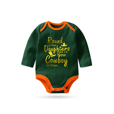 Polo Republica New Cowboy Long Sleeve Baby Romper Babywear Polo Republica Bottle Green Orange 0-3 Months