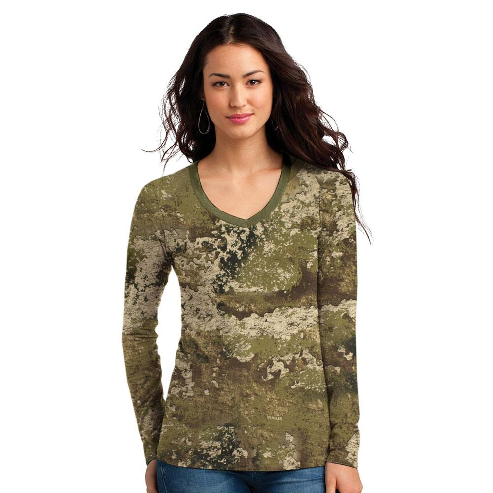 SHE Jungle Camo Chester Long Sleeve Tee Shirt