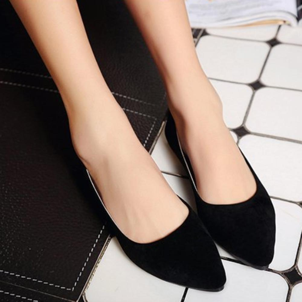 Shishang Pointy Toe Flat Sole Velvet Court Shoes Women's Shoes Sunshine China Black EUR 35