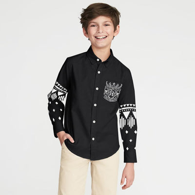 Polo Republica Finike Boys Printed Casual Shirt Boy's Casual Shirt MAJ Black 2 Years