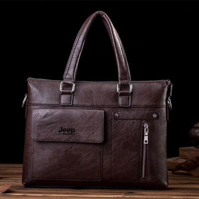 Jeep PU Leather Business Travel Shoulder Bag Laptop Bag Sunshine China Brown