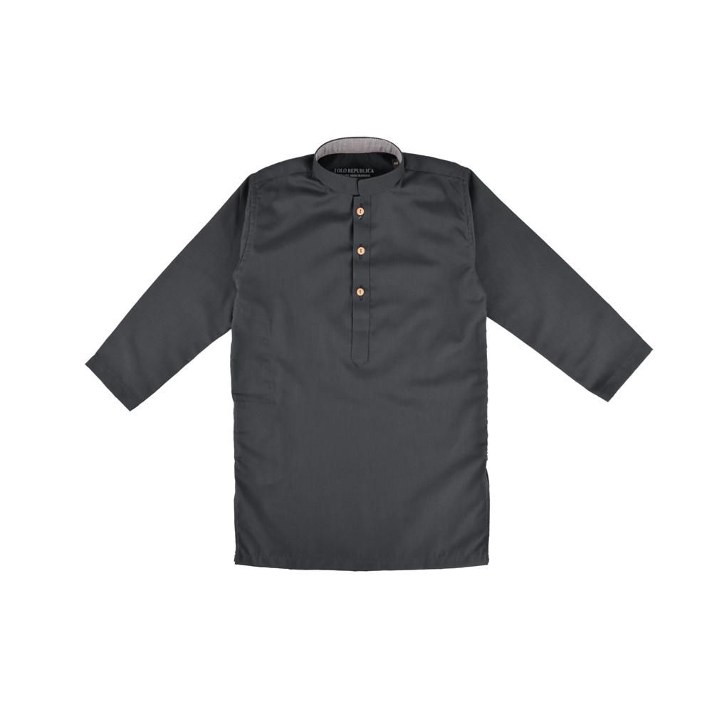 Polo Republica Boys Lambosa Dyed Stitched Kurta Boy's Kurta MAJ Dark Graphite 2 Years