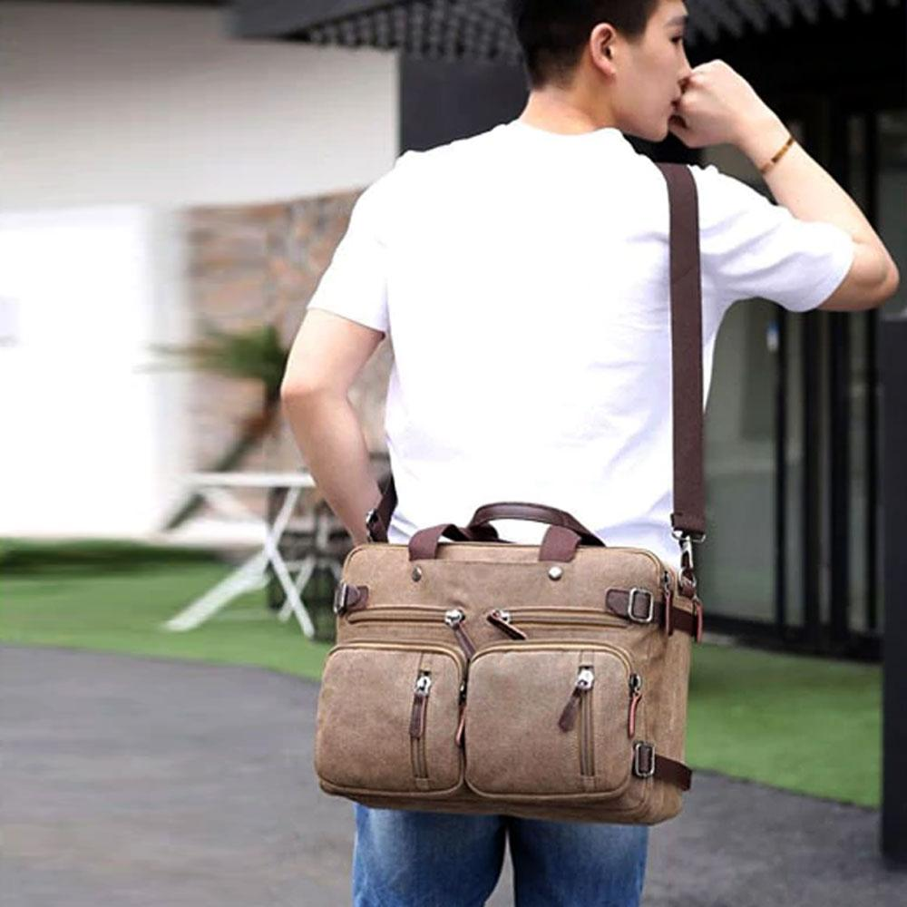 Retro Fashion Men's Multi-purpose Canvas Backpack Hand Bag Sunshine China