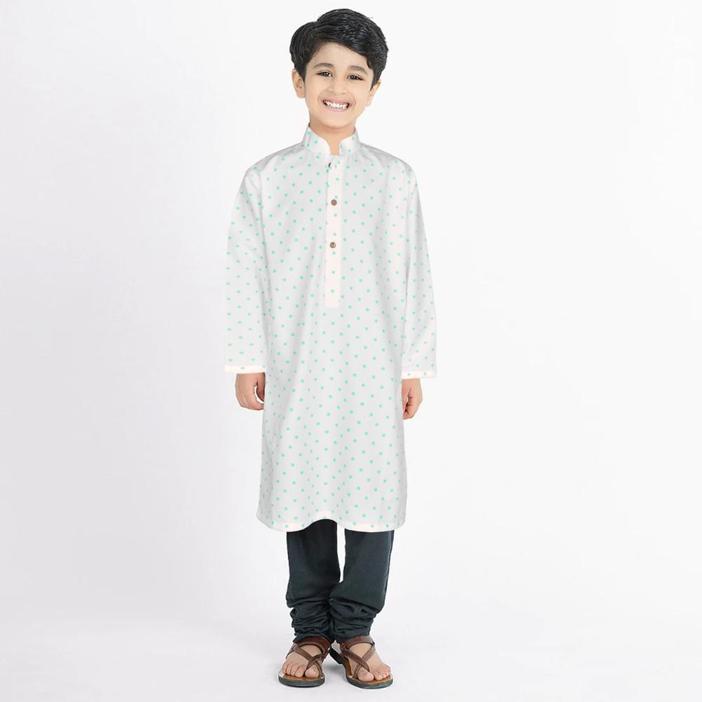 Polo Republica Classy Boy's Kurta Boy's Kurta MAJ White Turquoise 2 Years