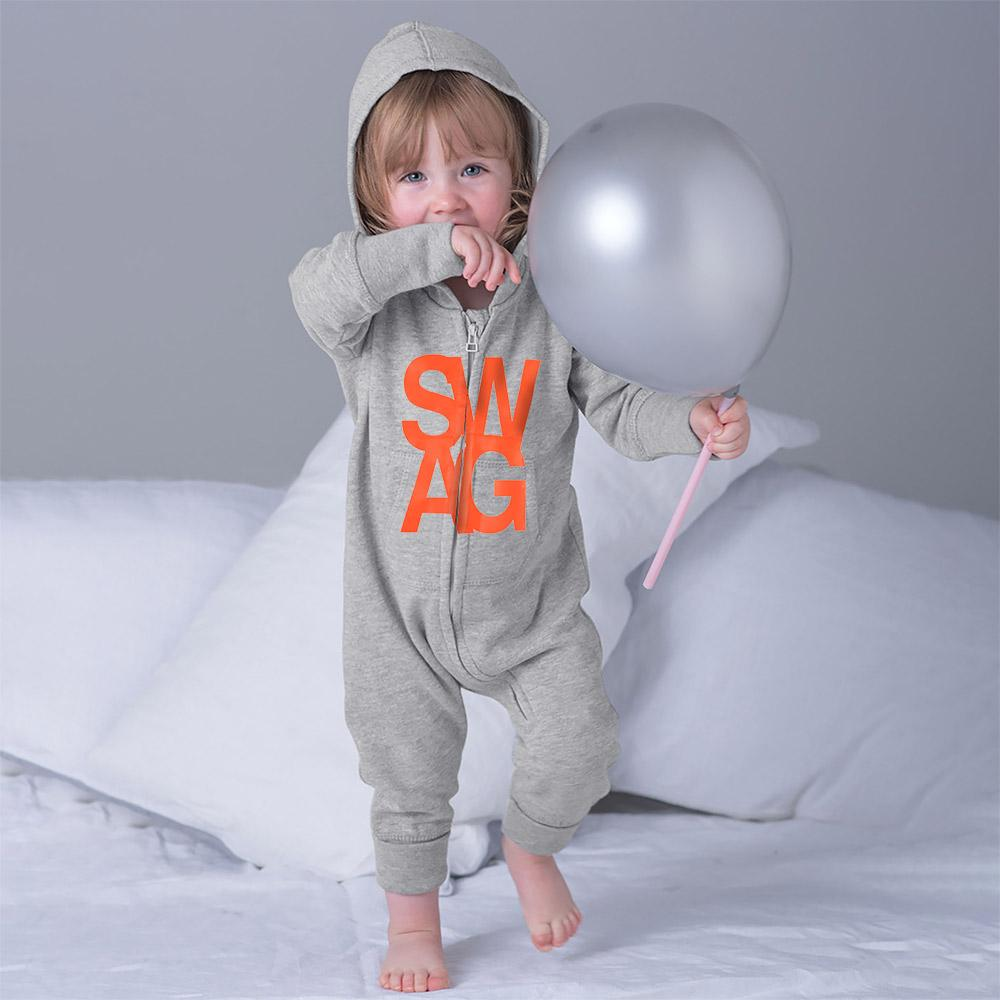 Swager Fleece Full Body Romper Babywear Image Heather Grey Orange 6-12 Months