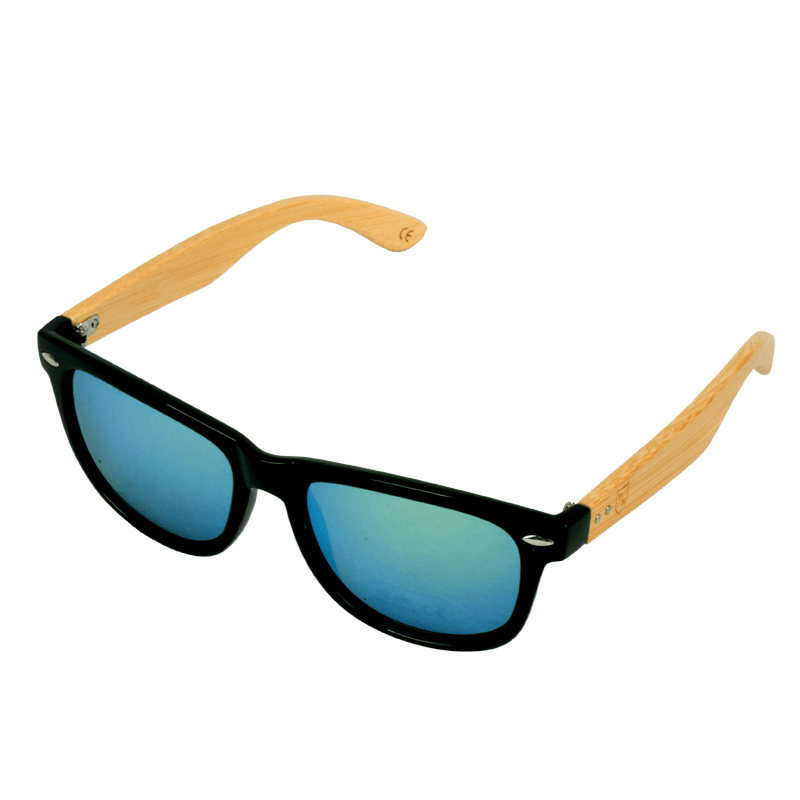 Polo Republica (313-3B) Black Frame with Bamboo Arms Gold Lens Sunglasses - ExportLeftovers.com
