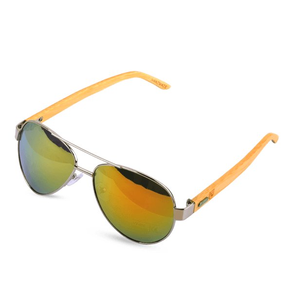 Polo Republica (1034-M5) Fiery California Aviator Bamboo Temple Sunglasses - ExportLeftovers.com