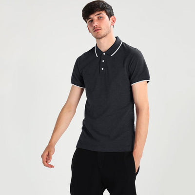 Polo Republica Basic Tipping Short Sleeve Polo Shirt Men's Polo Shirt Polo Republica Charcoal XS