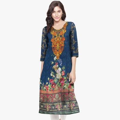 Chebika Digital Printed Embroidered Unstitched Lawn Kurti