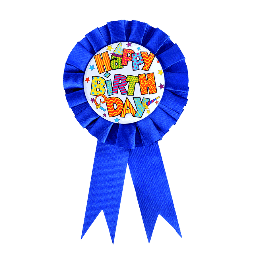SK Dark Blue Birthday Ribbon Badge - ExportLeftovers.com