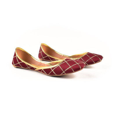 Embroidered Velvet Khussa Women's Shoes Hpral Maroon EUR 37