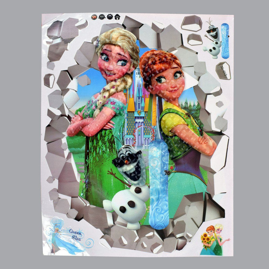 Kid's Room Queen Elsa 3D Wall Stickers - ExportLeftovers.com
