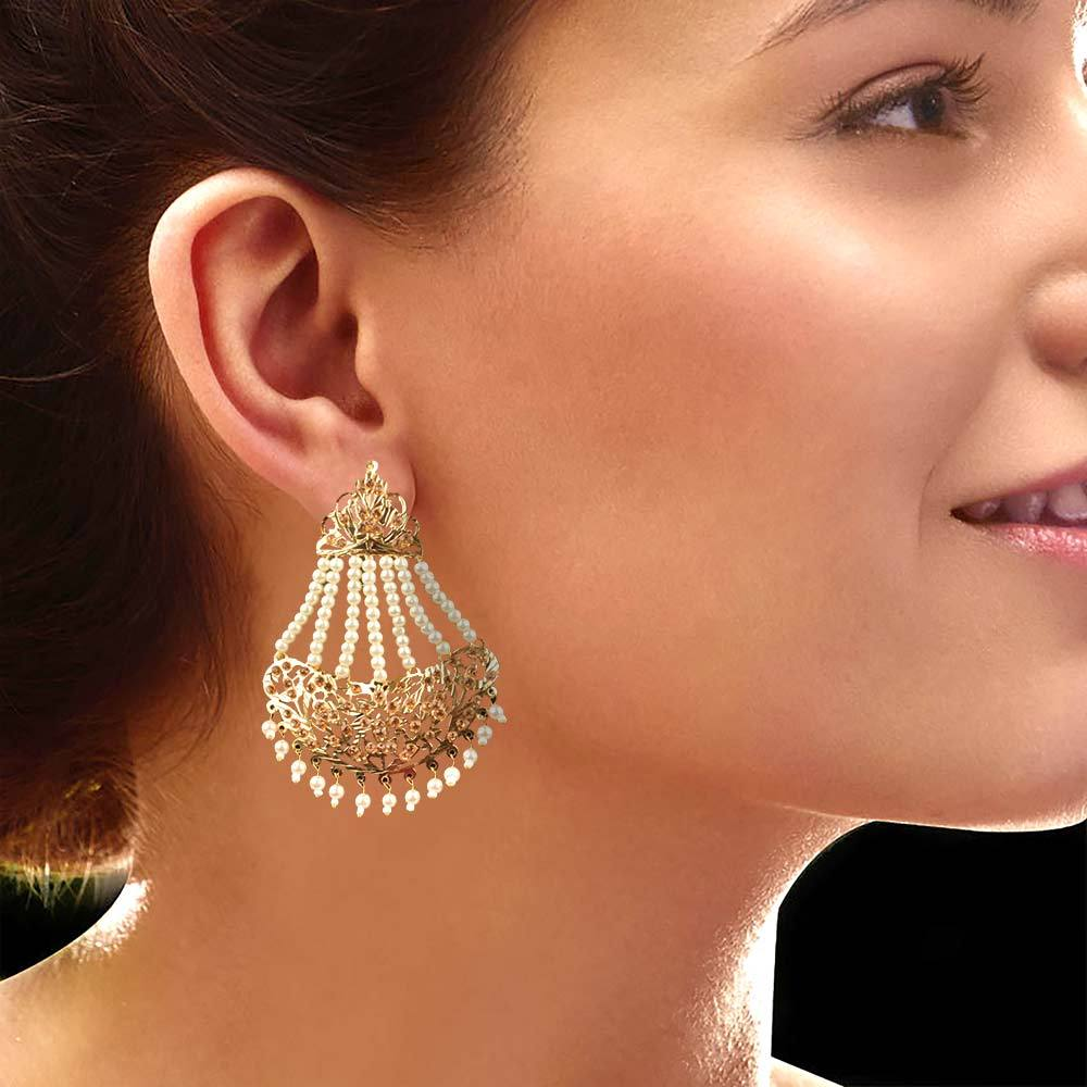 MB Surget White Pearls Golden Color Hyderabadi Jhumka Jewellery MB Traders