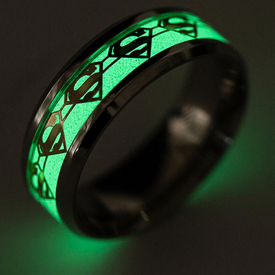 Stainless Steel Ring Luminous Glow in the Dark Superman Band