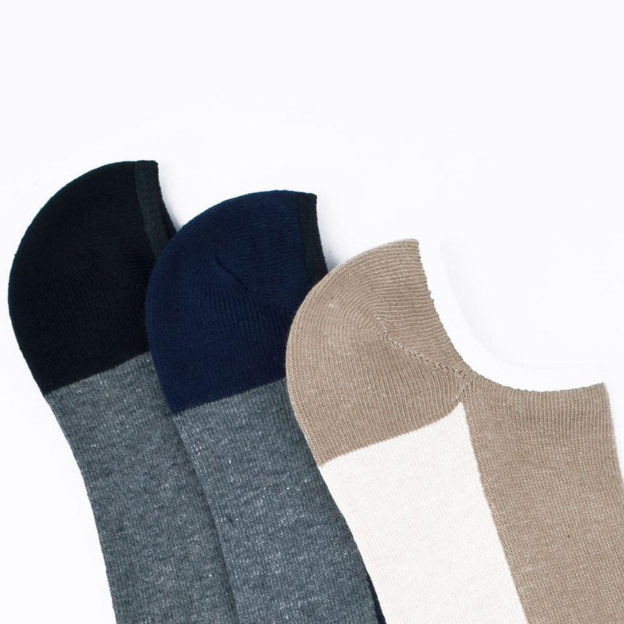 Mouzay Morden Three Pair No Show Assorted Socks