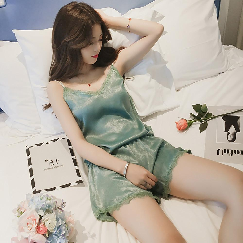 Sexy Camis Chiffon Sleeveless V-neck Nighty Set Women's Casual Top Sunshine China