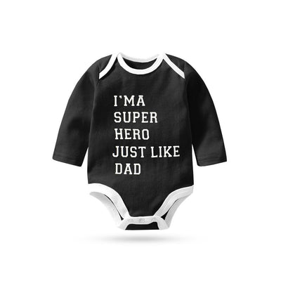 Polo Republica I Am Super Hero Just Like Dad Pique Baby Romper Babywear Polo Republica Black White 0-3 Months