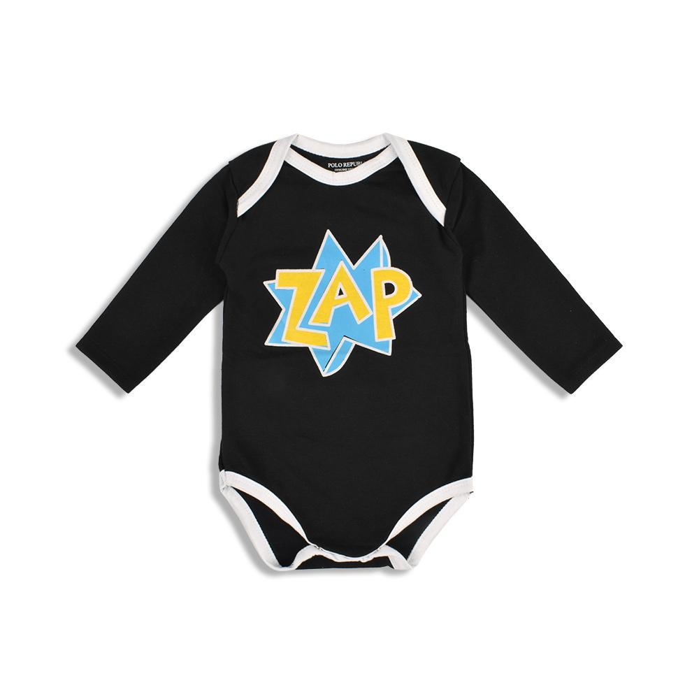 Polo Republica Zap Long Sleeve Pique Baby Romper Babywear Polo Republica Black 0-3 Months