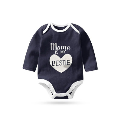 Polo Republica Mama Is My Bestie Pique Baby Romper Babywear Polo Republica Navy White 0-3 Months