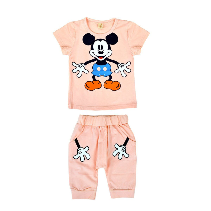 Kid's Micky Mouse Tee with Trouser Set - ExportLeftovers.com