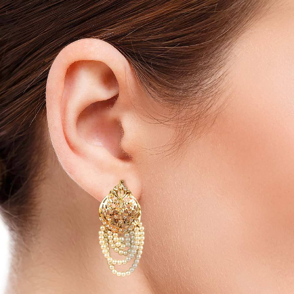 MB Stones Inlay White Pearls Golden Color Hyderabadi Earrings Jewellery MB Traders