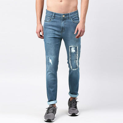 GS Distressed Patched Myron Skinny Denim Men's Denim AGZ Light Blue 30 30
