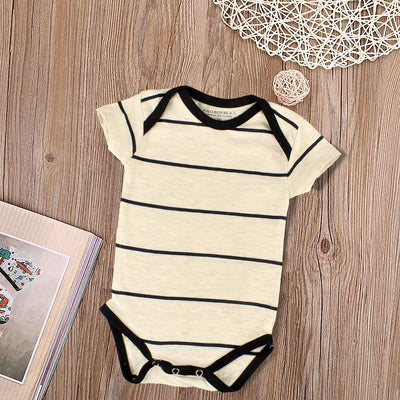 Polo Republica Contrast Stripes Baby Romper Babywear Polo Republica Oatmeal Black 0-3 Months