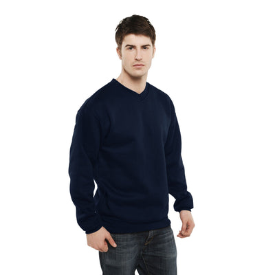 BZD Votvin Long Sleeve V-Neck Sweat Shirt Men's Sweat Shirt Image Navy M