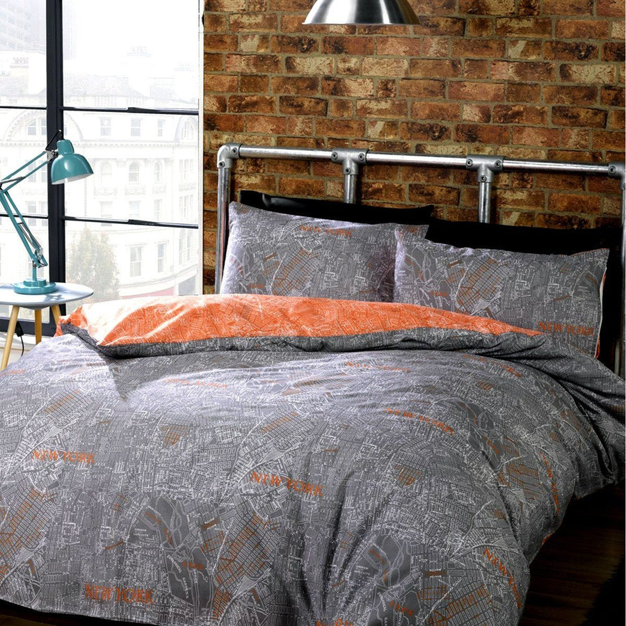 New York Streets Printed Double Duvet Set