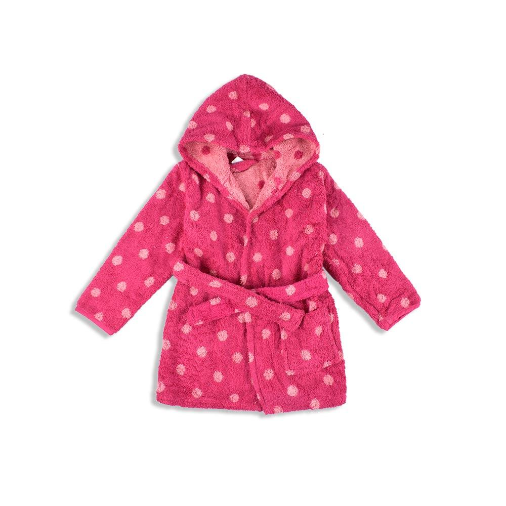 Vertbaudet Kids Dotted Design Hooded Bathrobe Bathrobe First Choice 4 Years