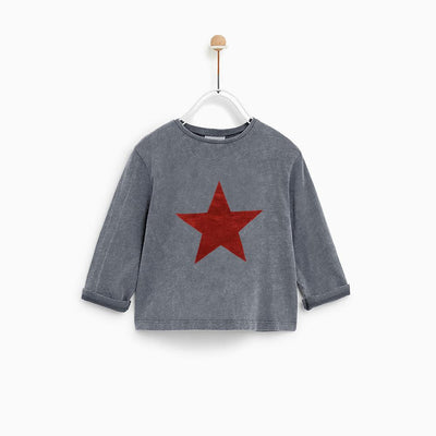 ZR Star Design Faded Style Long Sleeves Tee Shirt Boy's Tee Shirt SNC 2-3 Years